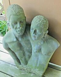 Vintage Modern 2/3 Life Size Realism Shona African Stone Sculpture Nude Lovers