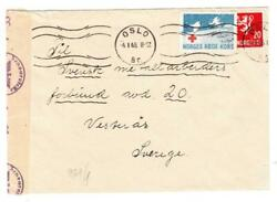 Norway Sc1960-red Cross Label-oslo 4/1/45-to Sweden-wwii German