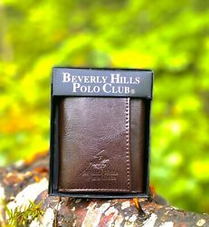 Men's Designer Brown Polo Beverly Hills Club Wallet Leather Tri Folding ID Hold $9.99