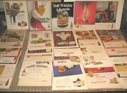 45+ Whiskey Bourbon Spirits 11 X 14 Old 1940's/50's Magazine Ad Pages Lot