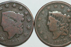 1831-g 1832 Vg Liberty Coronet Or Matron Head Large Cent Coin Num4839