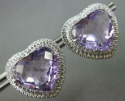 Large 25.55ct Diamond And Aaa Amethyst 14k White Gold Heart Shape Clip On Earrings