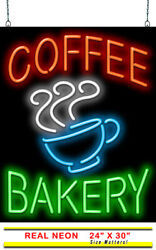 Coffee Bakery With Coffee Cup Neon Sign   Jantec   24 X 30   Cafe Coffee Shop