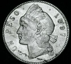 1897 One Peso Large Silver Coin Of Dominican Republic 1897 A47-458