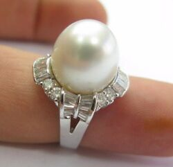 South Seas Pearl And Diamond Anniversary Ring 18kt White Gold 1.46ct 13mm