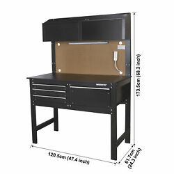 2-in-1 Workbench Cabinet Combo W/ Work Light 48in Rust Resistant Tool Storage