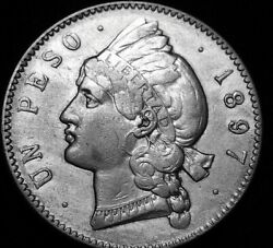 1897 One Peso Large Silver Coin Of Dominican Republic Excellent Details A47-425