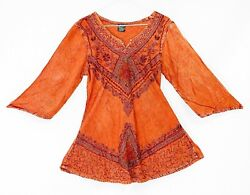 ABOVE KNEE EMBROIDERED MEXICAN HIPPIE MINI BOHO DRESS