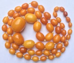Genuine Antique Egg Yolk Butterscotch Chunky Amber Bead Necklace 47g 2.5cm Bead