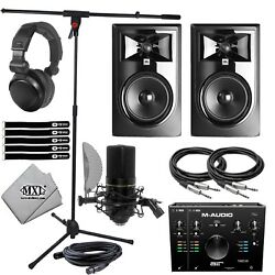 Jbl 306pmkii 6 Active Studio Speakers Air192x8 Recording Interface And Microphone