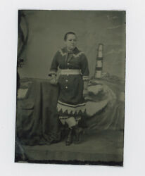 1870and039s-1880and039s Woman W/ Colonnade Belt Poss. Circus Tintype 3 1/2 X 2 7/16