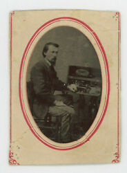 1860and039s-1870and039s Man W/ Wheeler And Wilson Sewing Machine Tintype 3 7/16 X 2 1/2