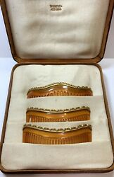 Antique And Co. 14k Gold Blonde Tortoise Shell Hair Comb Pin Set Mantilla