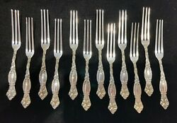 Rare 1895 Art Nouveau Sterling Frontenac Lily Strawberry Forks - Set Of 12