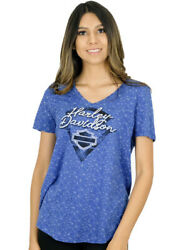 Harley-Davidson Womens Blue Chip Burnout Short Sleeve V-Neck T-Shirt $9.99