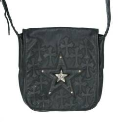 Chrome Hearts Bag-Mail  Mail Bag Star Decorated Cemetery Cross Patch Leather $5,916.30