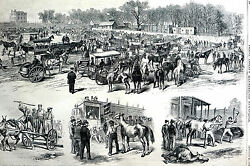 Horse Market Auction Grounds 1871 2nd Avenue Nyc Auctioneer Antique Matted Print