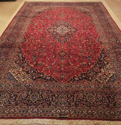 10 X 13 Hand Knotted Semi Antique Red Rug