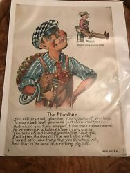 Antique Ugly Valentine The Plumber Made In U S A Your Plumb Off Youre Base