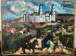 Don Quixote Sancho Panza Expressionist Large Oil Painting-1960s70s-i.l. Winarsky