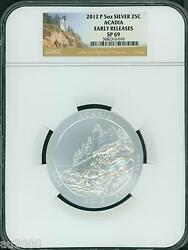 2012-p Acadia Maine National Park Atb 5 Oz. Silver Ngc Sp69 Early Releases Er
