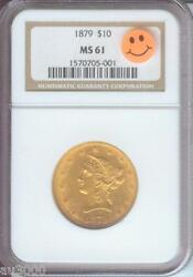 1879 1879-p 10 Liberty Eagle Ngc Ms61 Gold Coin Ms-61 Scarce Date P.q.