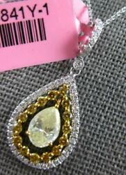 1.25ct White And Fancy Yellow Diamond 18kt 2 Tone Gold Solitaire Tear Drop Pendant