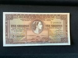 1957 Bermuda Five Shilling Note.  Crisp And Uncirculated. one Of The Finest.