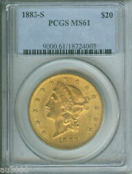 1883-s 20 Liberty Double Eagle Pcgs Ms61 Ms-61 Better Date