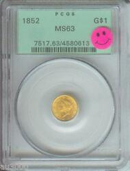 1852 Type 1 1 Gold Dollar Pcgs G1 Ms63 Ogh Old Green Holder Premium Quality Pq
