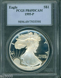1995-p American Silver Eagle Ase S1 Pcgs Pf69 Pr69 Proof Cameo Older Holder