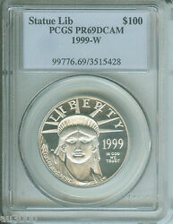 1999-w 100 Statue Of Liberty Platinum Eagle 1 Oz. Pcgs Pr69 Pf69