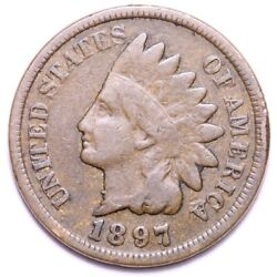 1897 1 In Neck Blundered Die Indian Head Cent Penny Choice Fine Free S/h E543 Kc
