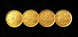 1854 1 Gold 4 Coin Love Token Pin - George B Meyer Family To Miss E B Brown