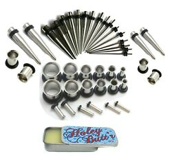 16g-00g Plus 1g And 9mm Steel Ear Stretching Kit Tunnels Tapers Gauge Holey Butt'r