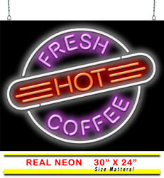 Fresh Hot Coffee Neon Sign   Jantec   30 X 24   Cafe Book Store Shop Donuts