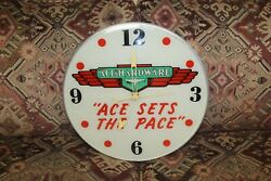 1940s Ace Hardware Ace Sets The Pace Advertising Glass Clock