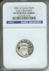 2007-w 25 Platinum Statue Of Liberty 1/4 Oz. Ngc Pf70 Proof Pr70 Early Releases