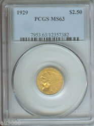 1929 2.5 Indian Quarter Eagle Gold Coin Pcgs Ms63 Ms-63 Beautiful