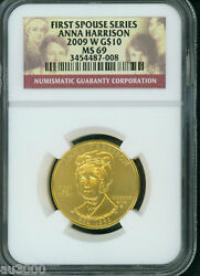 2009-w 10 Gold Anna Harrison First Spouse 1/2 Oz. Ngc Ms69