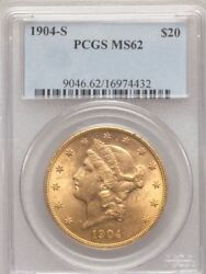 1904-s 20 Gold Liberty Double Eagle Pcgs Ms62 Ms-62 Older Holder