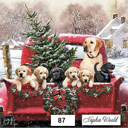 87 Two Individual Paper Luncheon Decoupage Napkins - Red Truck Dogs Christmas