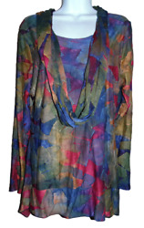 Super Cute Multicolor Lined Long Sleeve Tunic wInfinity Scarf by Feratelli - M $9.99