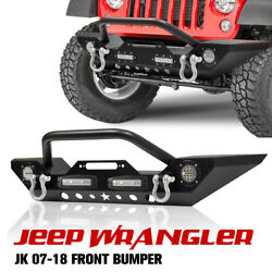 Front Bumper with Built in LED Lights D Ring Shackles For Jeep Wrangler 07 18 JK $149.39