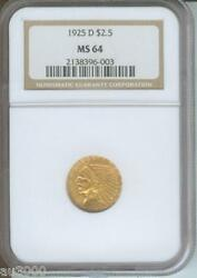 1925-d 2.5 Indian Quarter Eagle Ngc Ms64 Gold Coin Ms-64 Graded