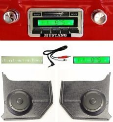 1964-1966 Ford Mustang Radio W/ Free Aux Cable 230 Stereo + Kick Panels Convert