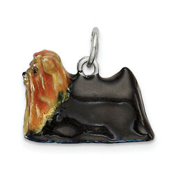 Sterling Silver Enameled Yorkshire Terrier Charm QC6406
