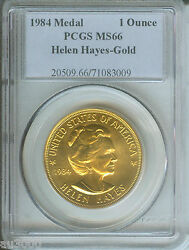 1984 Helen Hayes Commemorative 1 Oz. Gold Medal American Arts Pcgs Ms66
