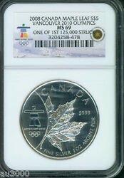 2008 Canada Maple Leaf 1 Oz. S5 Silver Vancouver 2010 Olympics Ngc Ms69