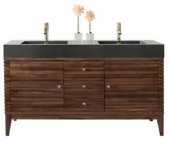 Linear 59 Double Vanity Mid Century Walnut W/glossy White Solid Surface Top